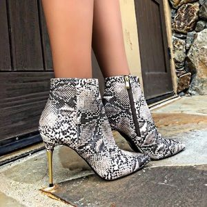 Shoes - Snake print bootie with golden heel
